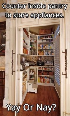 Can we just say Dream Kitchen Pantry ! counter inside pantry to store appliances Küchen Design, Layout Design, House Design, Design Ideas, Interior Design, Booth Design, Interior Ideas, Design Trends, Kitchen Pantry