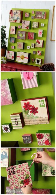 I wanted a DIY advent calendar that was going to make a huge statement, so I made this one using big boxes, Mod Podge and my favorite holiday papers.