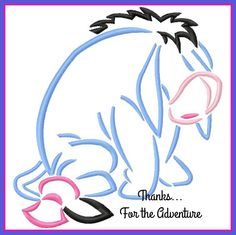 Eeyore from Winnie the Pooh Sketch Digital Embroidery Machine  Design File 4x4 5x7 6x10 by Thanks4TheAdventure on Etsy