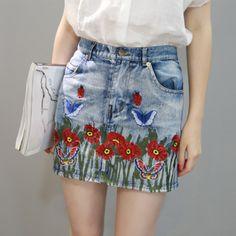 """monsterthigh: """" Blue Flower Butterfly Embroidery Denim Skirt """""""