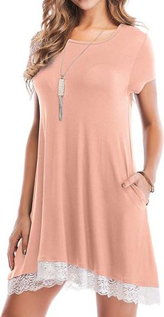 f77f1802a828a Eanklosco Women s Summer Short Sleeve Lace Tunic Dress Casual Swing T-Shirt  Dresses with Pockets (Pink
