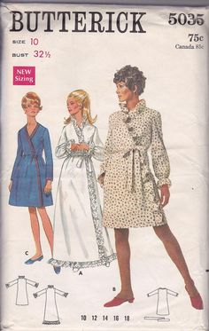 SALE 60s Mod Front Wrap Robe Dress Ruffles Poet Sleeves Size 10 Bust 32.5 Vintage Sewing Pattern Butterick 5035 Complete Uncut