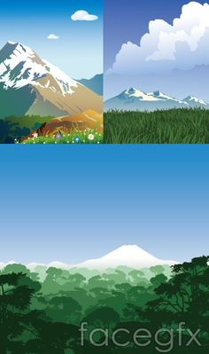 Snowy Mountains scenery vector