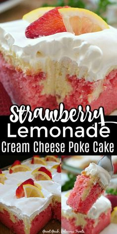Strawberry Lemonade Cream Cheese Poke Cake has two delicious flavors in one dessert, both strawberry and lemon and tastes so delicious. Strawberry Desserts, Köstliche Desserts, Delicious Desserts, Dessert Recipes, Lemon Strawberry Cake, Oreo Dessert, Yummy Treats, Sweet Treats, Pie Cake