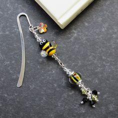 Bumble lampwork beaded bookmark. £15.00