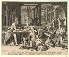 St Paul at Corinth with Aquila and Priscilla [Acts 18]. Interior of a room with Paul working with Aquila and Priscilla weaving looms; in the foreground Priscilla works at a spinning wheel and a young boy holds out his arms for the yarn; Paul sits at a table and writes and at right a woman sweeps the floor; after Joos van Winghe. c.1600