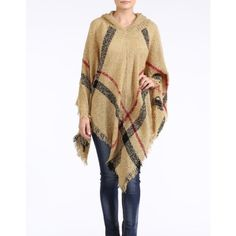 """""""Romance"""" Plaid Hoodie Poncho Plaid poncho hoodie. Get ready for cooler weather with this classic beauty. One size fits most. Available in navy and camel. This listing is for the CAMEL. Brand new. 100% acrylic Bare Anthology Jackets & Coats"""