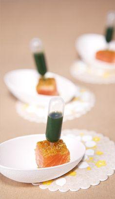 Saumon mi-cuit, pipette de jus de coriandre