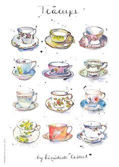 Teacup Art Print from Original Ink and Watercolour от PebbleandBee
