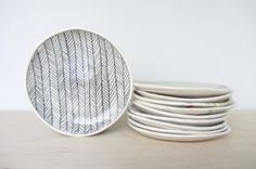 Ceramic Herringbone Patterned Canape/Dessert Plate - Ready to Ship Glass Ceramic, Ceramic Plates, Tea Jar, Chevrons, Ceramic Studio, My Tea, Pottery Painting, Herringbone Pattern, Unique Jewelry
