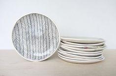 Chevrons en céramique à motifs assiette Canape/Dessert - prêt à expédier