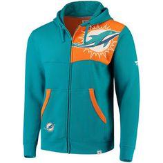 Men's Miami Dolphins NFL Pro Line by Fanatics Branded Aqua/Orange Iconic Bold Full-Zip Hoodie