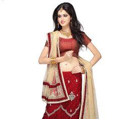 Dark Red Shimmer Net Lehenga Choli with Dupatta