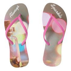 Always Sparkle Pretty inspirational flip flops