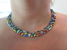 Dichro Mosaic Necklace - by Liz's Fused Dichroic Jewelry