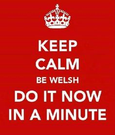 Keep calm, be Welsh, do it now in a minute. Welsh Sayings, Welsh Words, Welsh Language, Welsh Gifts, Welsh Rugby, Thats So Me, Cymru, Cardiff, Puns