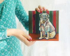 Pug in a Peacoat tiny acrylic painting on by TheWhimsicalFrog
