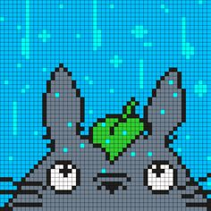 Totoro In The Rain Square Perler Bead Pattern / Bead Sprite by maninthebook