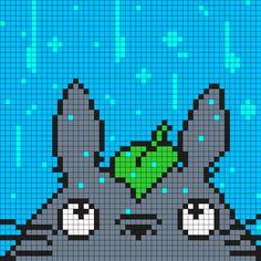 Totoro In The Rain Square Perler Bead Pattern / Bead Sprite