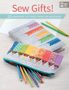 Sew Gifts! - Need fresh and fun ideas for everyone on your gift list? Sew Gifts! has you covered with 25 pretty projects with the special touches that make them stand out from the average handmade present. There's a lot to love here, including: a superstylish tote with chevron patchwork  a Dresden-plate embellished makeup bag  a keychain with pockets for cash and credit cards  a color-block iPad cover  a pieced kimono scarf (or table runner)  a triangular knitting needle case  a travel…