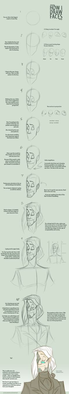 Quicky Faces Walkthrough by Altalamatox.deviantart.com on @deviantART Alright, ~desirabletruth, I hope this was anything like what you were looking for! I've been asked a few times how I go about drawing people, honestly I don't do anything fancy, I imagine this is a pretty standard way to construct faces. Did this on my tablet so pardon my fugly lines. Er, as I say this is pretty general. I'll do my best to answer questions if there're things that aren't making sense to you. (: