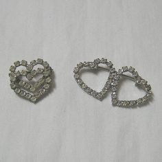 1960s Vintage Double Heart Brooches or Pins, Set of 2 with Clear Rhinestones and Lock Back Pins, 1.5 In. & 3/4 In., Sweet Valentine Gift by VictorianWardrobe on Etsy