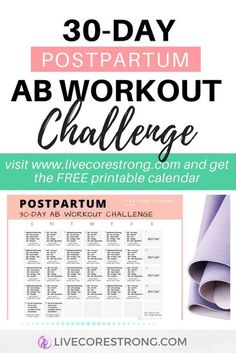 Click to get your FREE 30-Day Postpartum Ab Workout Calendar to help you tone and tighten your abdominal muscles after having a baby. Download your postpartum workout calendar, take the challenge and restore your postpartum core strength and improve your overall fitness post-pregnancy. A great way to get a flat belly after having a baby. It only takes 3 minutes to start! #postpartumworkout #postpartumexercises #flatbelly #postbabyworkout #postnatalworkout #postpartumabs #postpartumexercises Postpartum Workout Plan, Postnatal Workout, Postpartum Care, Postpartum Recovery, 30 Day Ab Workout, Post Baby Workout, Mommy Workout, Workout Men, 30 Day Fitness