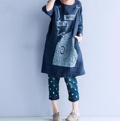 comfortable Cotton and linen loose fitting oversize by MaLieb