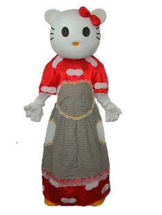 Hello Kitty in Plaid Dress Mascot Adult Costume