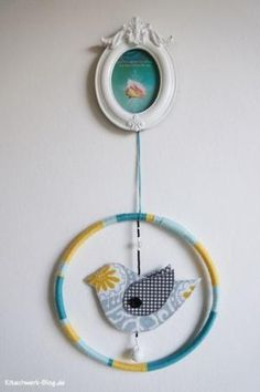 Vogel, Bird, Stoff, Fabric, Perlen, bead, Window deko, Fensterdeko, wanddeko, wall deko