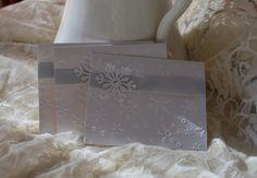 Handmade Greeting Card: Christmas, Snowflakes, Winter White, Blue ribbon