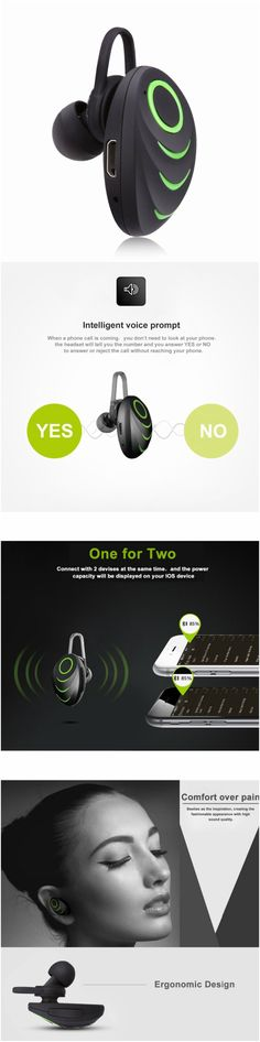 Smart wireless Bluetooth One-Piece Earphone Earset with microphone. Great product gift idea for android and iPhone users #Technology #gadgets #cool