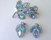 WEISS Signed Rhinestone Light Blue Large Marquis Aurora Borealis Floral Leaf Brooch and Earring Set - 1950s Magnificent!!
