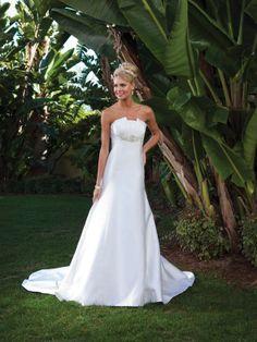 Empire waist chapel train sleeveless satin charming bridal gown