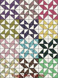 Scrappy Grab Bag Fabric Star Puzzle Easy To Make Ready To Sew Pre-Cut Quilt Blocks Top Kit