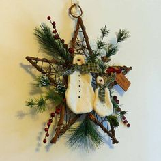 Frosty Holiday Snowman and Grapevine Star by SnowmanCollector, $23 ...