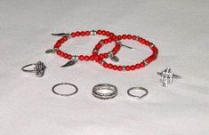 SALE OFF Stacking Rings And Bracelets 7 Piece Set Turquoise Natural Or Coral 5 Ring 2 Bracelet Set Includes Hamsa Thunderbird Wings Asp Snake Symbols Stackable Bracelets, Stacking Rings, Cyber Monday 2019, Pink Lace Tops, Coral, Turquoise, Sale 50, Hippie Gypsy, Hamsa