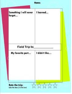 Field Trip Reflection organizer