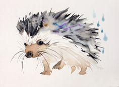 """Saatchi Art Artist Kristina Brozicevic; Painting, """"Happy hedgehog (sold)"""" #art"""