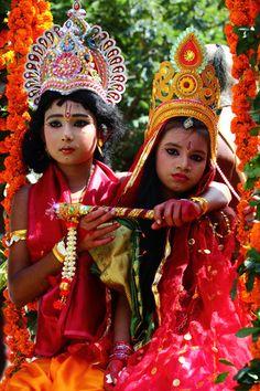 Children wearing colorful clothes at the festival of Janmashtami, marking Krishna's birthday, in Dhaka, Bangladesh (by Tipu Kibria).