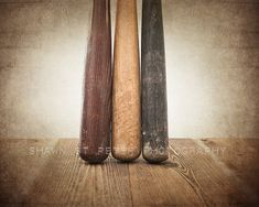 SUPERBOWL SALE Three Vintage Baseball Bats on Wood by shawnstpeter, $12.00