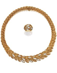 18 KARAT GOLD, PLATINUM AND DIAMOND NECKLACE WITH MATCHING RING, VAN CLEEF & ARPELS, CIRCA 1960  Estimate: 12,000 - 18,000 USD   The necklace of foliate design set with round diamonds weighing 1.10 carats, gross weight approximately 58 dwts; together with extra links measuring ½ inch; the ring of similar design, set with round diamonds weighing 1.00 carat, gross weight 7 dwts, fitted with sizing spheres.