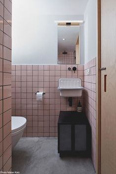 Pink tiles bathroom designed by This Is It Design. bathroomdesignwellington Pink tiles bathroom designed by This Is It Design. Pink Bathroom Tiles, Bathroom Tile Designs, Downstairs Bathroom, Bathroom Design Small, Bathroom Interior Design, Modern Bathroom, Interior Decorating, Bathroom Ideas, Dark Bathrooms