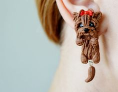 Yorkshire Terrier gauges Yorkie plugs dog by JEWELRYandPLEASURE