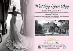 Mulberry House  @MulberryHouse Wedding Open Day on Sunday 25th January http://www.mulberry-house.com/