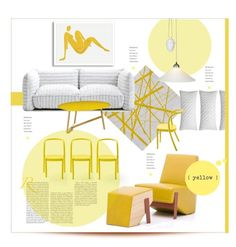 """Monochromatic."" by s-elle ❤ liked on Polyvore featuring interior, interiors, interior design, дом, home decor, interior decorating, MOROSO, CB2, Original BTC и yellow"