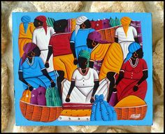 "Haitian Painting - Colorful Haitian Market Scene - Hand Painted Canvas Painting - Original Art of Haiti - 20"" x 24"" - CP-1062 by TropicAccents on Etsy"