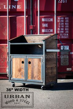 Urban Industrial Hostess stand, or POS station. This sturdy podium features locking steel casters, & electrical chase within the cabinet. Interior shelving and doors hide the mess. Unit is perfect for your restaurant or store needs, steel banding protects the antique pine exterior.  - 60W x 18D x 42 H 4 door unit - pictured -48W x 18D x 42 H 2 door unit -36W x 18D x 42 H 2 door unit - pictured  *Both podiums shown have an optional side shelf. You can add a shelf to your podium here…