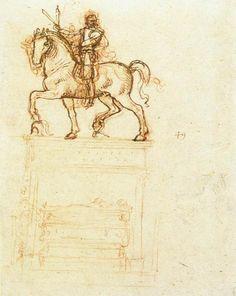 """""""Studio per il monumento Trivulzio"""", gesso, inchiostro di Leonardo Da Vinci (1452-1519, Italy)"""