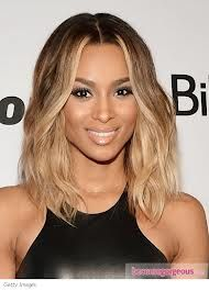 ciara short ombre hair - still lots of blonde. But let's drop those stripes on either side of the face